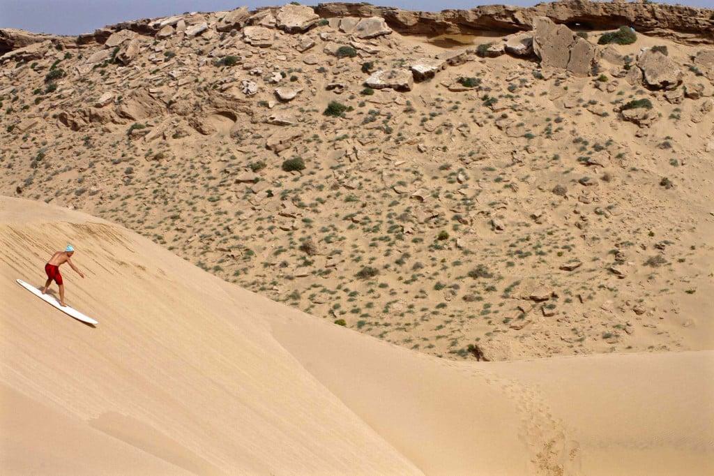 Sand dune surfing Morocco