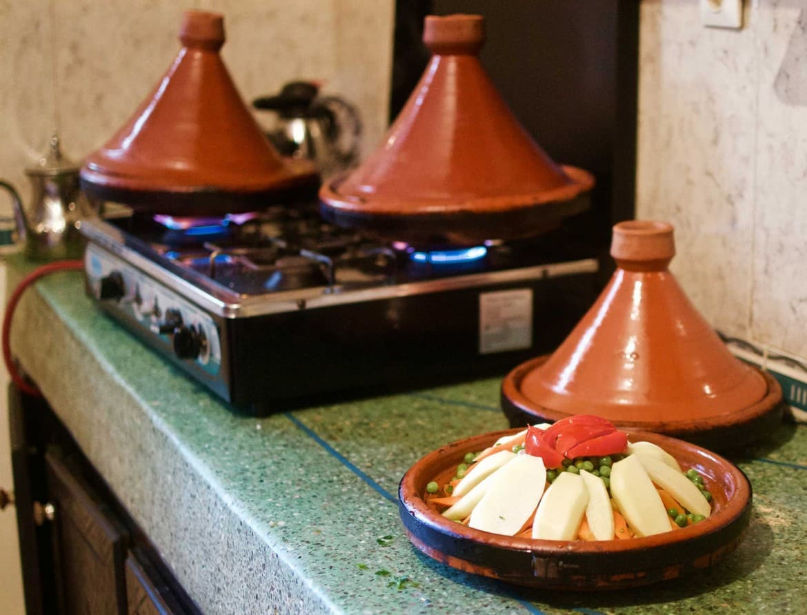 Tajine is the classic authentic Moroccan dish. It is truly unique in style, taste and form to the local culture, we always share tajine over dinner here at Original Surf Morocco!